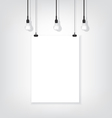 White poster on wall and bulb vector image vector image