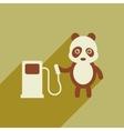 flat icon with long shadow panda cartoon vector image