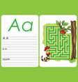 alphabet a-z - puzzle worksheet - a - apple vector image