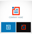 data note paper document technology logo vector image