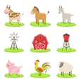 Farm Associated Animals And Objects Set vector image
