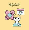 medical doctor plaster bandage and calendar vector image