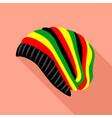 rasta hat icon flat style vector image
