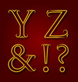 y z letters ampersand exclamation and question vector image