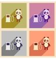 Concept flat icons with long shadow panda cartoon vector image