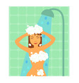 brunette woman taking shower vector image
