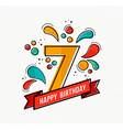 Colorful happy birthday number 7 flat line design vector image