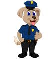 cute police dog cartoon thumb up vector image