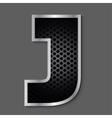 Metal grid font - letter J vector image