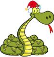 Snake With Santa Hat vector image