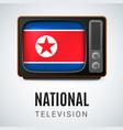 round glossy icon of north korea vector image