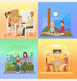 family holiday cartoon concepts mom dad son vector image