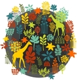 Round label with floral pattern and giraffe baby vector image