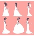 Elegant brides in silhouette vector image vector image