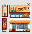 restaurant halloween cafe set shop front design vector image