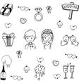 Cute set wedding in doodle vector image