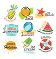 Set of hand drawn summer signs and banners vector image