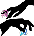 hands holding gay symbols vector image vector image