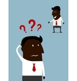 Afroamerican businessman with a problem vector image