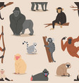 cartoon monkey character animal wild vector image