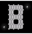 Metal letter B Gemstone Geometric shapes vector image