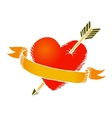 Retro heart with ribbon vector image