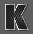 Metal grid font - letter K vector image
