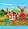 farm scene with scarecrow and chickens vector image