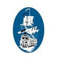galleon sailing ship at sea vector image vector image