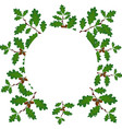green branches of an oak with acorns on a circle vector image