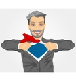 businessman with superhero suit under his skirt vector image