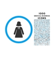 Business Lady Rounded Symbol With 1000 Icons vector image
