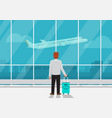 businessman with luggage in airport vector image