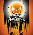 Happy Halloween with black sky and pumpkin moon vector image