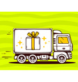truck free and fast delivering gift box t vector image
