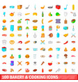100 bakery and cooking icons set cartoon style vector image
