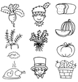 Thanksgiving set hand draw doodles vector image