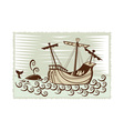 galleon sailing ship at sea with whale vector image vector image