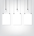 Three white poster on wall and bulb vector image vector image