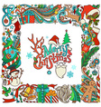 Ornate festive frame of Christmas objects vector image
