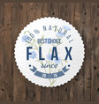 flax round label with type design vector image