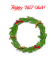 hand drawn wreath with ribbons round frame vector image