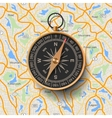 Old compass on map background vector image