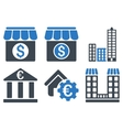 Bank Building Flat Icons vector image