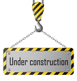 Construction plate with crane hook and chain Vector Image