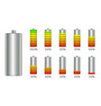 battery charge level indicators with gradient set vector image