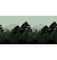 Seamless Landscape Trees and Mountain Silhouettes vector image