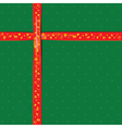 Red Ribbon on green color paper for Christmas vector image