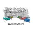 Car showroom interior design sketch vector image