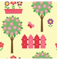 Seamless pattern with blooming trees vector image